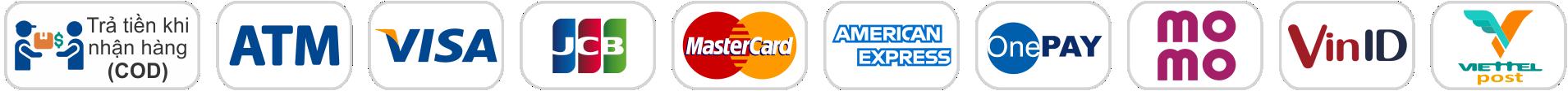 Thanh Toán COD, thẻ ATM, thẻ napas, thẻ tín dụng, thẻ credit, thanh toán qua ứng dụng, trả góp 0%, viettelpost, Samconbank, Bidv,....